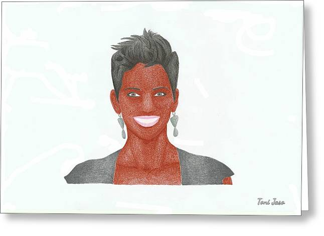 Halle Berry Greeting Cards - Halle Berry Greeting Card by Toni Jaso