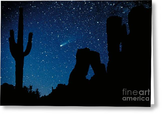 Desert Photographs Greeting Cards - Halleys Comet Greeting Card by Frank Zullo