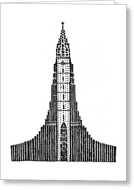 Pen And Paper Greeting Cards - Hallgrimskirkja Church of Hallgrimur Greeting Card by Hinterlund
