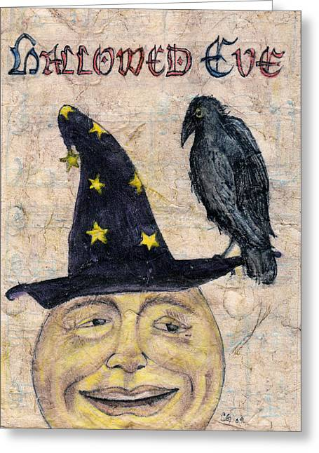 Man In The Moon Greeting Cards - Hallowed Eve Greeting Card by Carrie Jackson