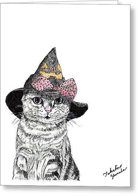 Kobe Drawings Greeting Cards - Halloween Cat Greeting Card by Takahiro Yamada