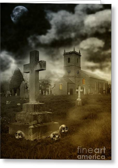 Headstones Photographs Greeting Cards - Halloween Churchyard Greeting Card by Amanda And Christopher Elwell