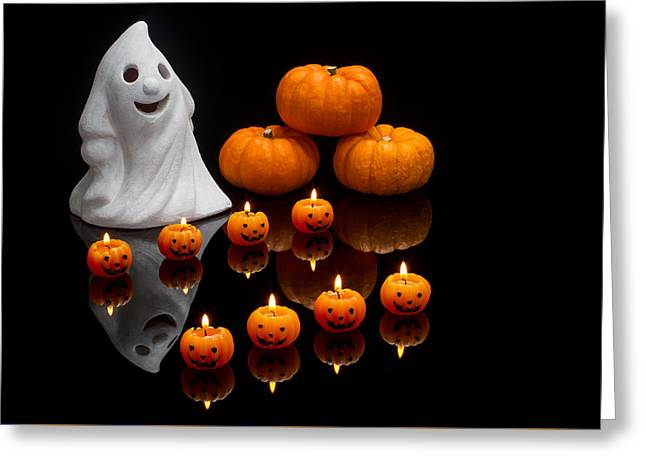 Candle Lit Greeting Cards - Halloween Greeting Card by Clare Bambers