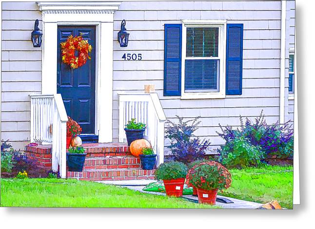 Brick Front Walk Greeting Cards - Halloween decorated front door Greeting Card by Lanjee Chee