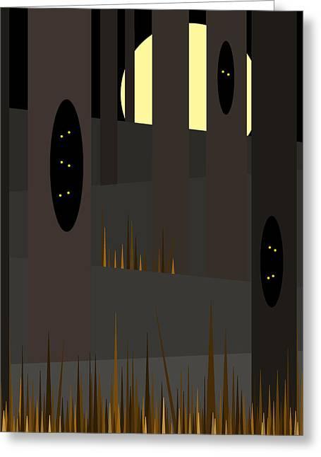 Glowing Eyes Greeting Cards - Halloween Eyes Greeting Card by Val Arie