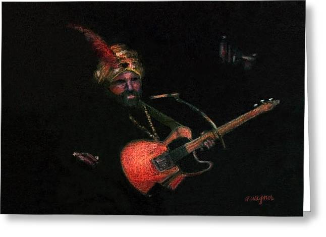 Guitar Pastels Greeting Cards - Halloween Gig Greeting Card by Arline Wagner