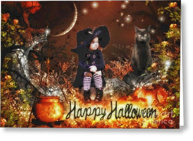 Mo T Mixed Media Greeting Cards - Halloween Girl Greeting Card by Mo T