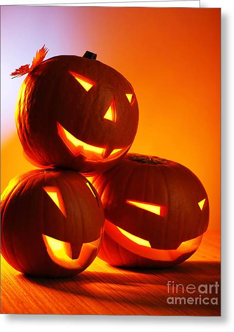 Night Lamp Greeting Cards - Halloween glowing pumpkins Greeting Card by Anna Omelchenko