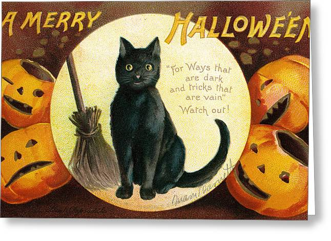 Chromolithograph Greeting Cards - Halloween Greetings with Black Cat and Carved Pumpkins Greeting Card by Ellen Hattie Clapsaddle