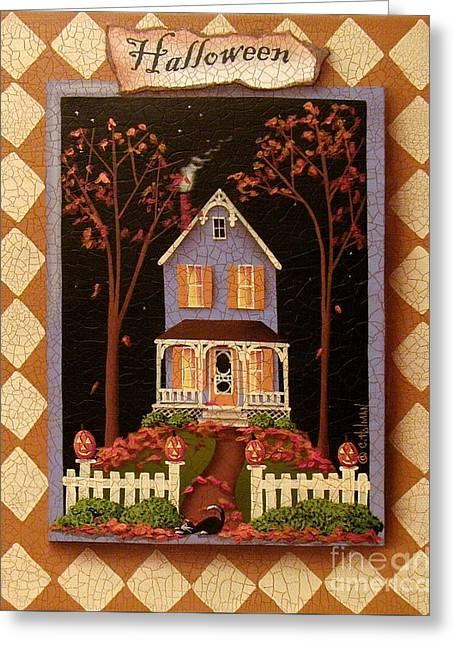 Autumn Folk Art Greeting Cards - Halloween Hill Greeting Card by Catherine Holman