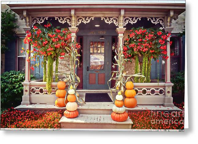Halloween In A Small Town Greeting Card by Mary Machare