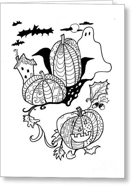 """""""haunted House"""" Drawings Greeting Cards - Halloween Ink Coloring Book Image Greeting Card by Robin Maria  Pedrero"""