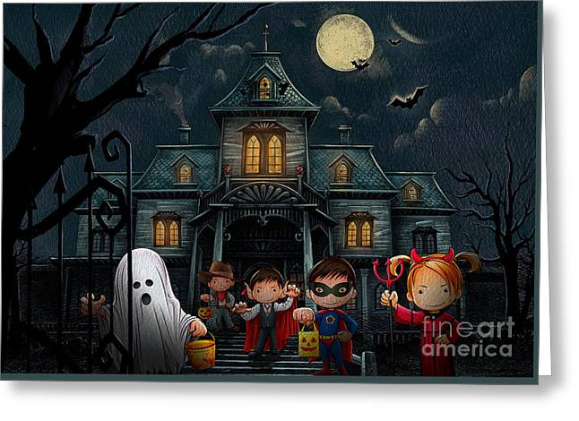 Haunted House Mixed Media Greeting Cards - Halloween Kids Night Greeting Card by Bedros Awak