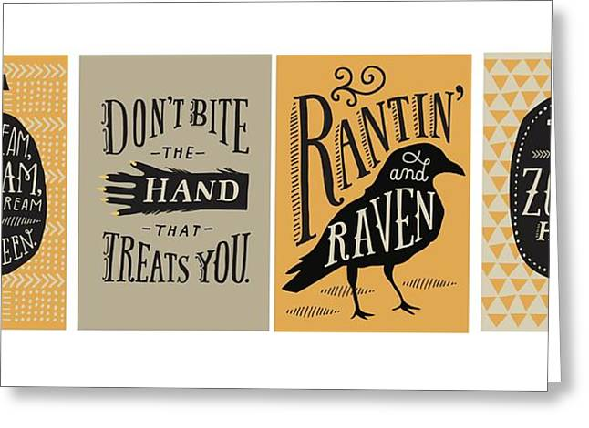 Hand Drawn Photographs Greeting Cards - Halloween Lettering - Ai Greeting Card by Gillham Studios