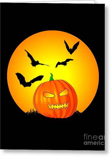 Jack O Lanterns Jackolantern Greeting Cards - Halloween Moon Jack-O-Lantern Greeting Card by Chris MacDonald