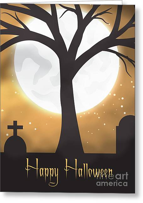 Special Occasion Greeting Cards - Halloween Moon Greeting Card by JH Designs