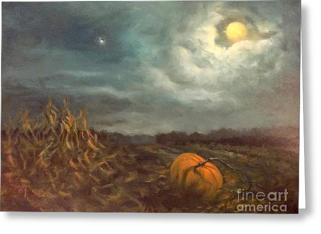 Randy Burns Greeting Cards - Halloween Mystery Under a Star and the Moon Greeting Card by Randy Burns