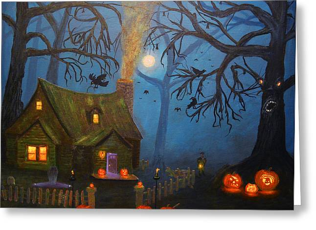 Kinkade Greeting Cards - Halloween Night Greeting Card by Ken Figurski