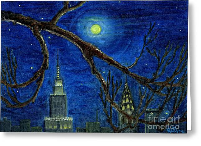 Polscy Malarze Greeting Cards - Halloween Night over New York City Greeting Card by Anna Folkartanna Maciejewska-Dyba