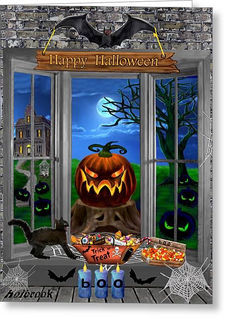 Eerie Greeting Cards - Halloween Night Stalker Greeting Card by Glenn Holbrook