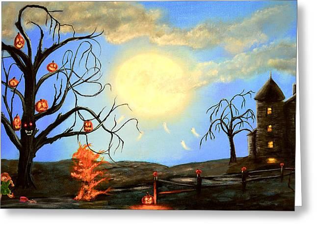 Kinkade Greeting Cards - Halloween Night Two Greeting Card by Ken Figurski