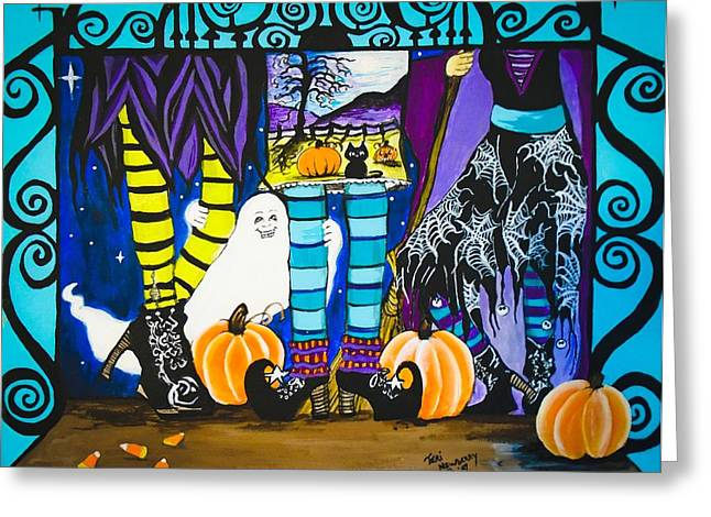 Black Boots Mixed Media Greeting Cards - Halloween Peek a Boo Greeting Card by Teri Newberry