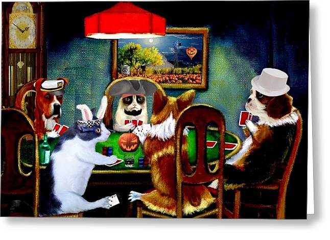 Halloween Poker Greeting Card by Ron Chambers