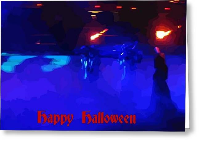 Creepy Digital Art Greeting Cards - Halloween Procession Greeting Card by John Malone