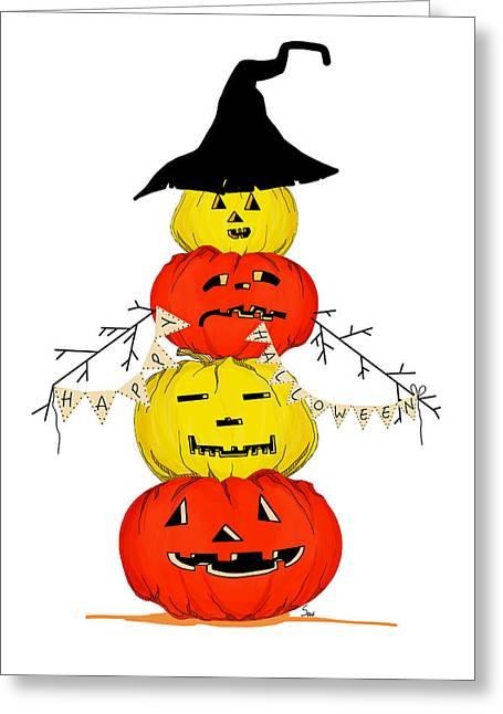 Postal Drawings Greeting Cards - Halloween pumkins Greeting Card by Anastasia Stepanova