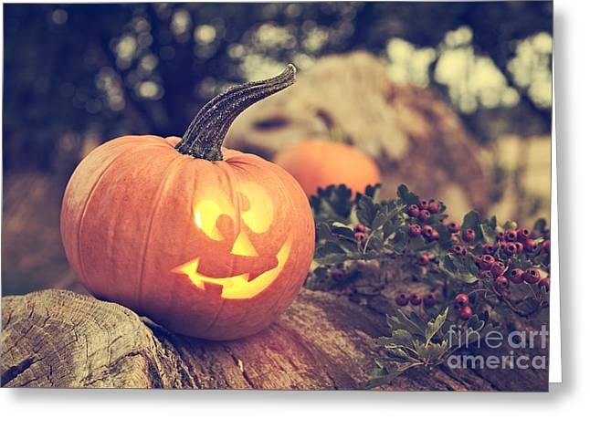 Halloween Pumpkin Greeting Card by Amanda Elwell