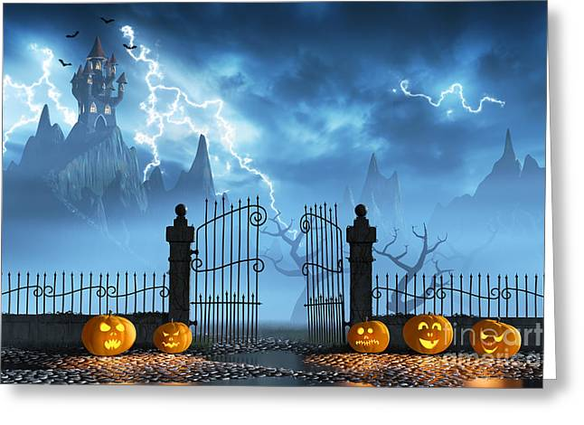 Frightening Castle Greeting Cards - Halloween pumpkins next to a gate of a spooky castle Greeting Card by Sara Winter