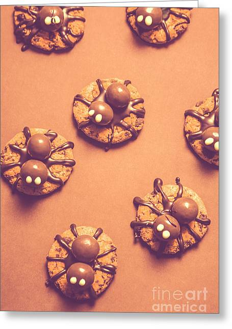 Halloween Spider Cookies On Brown Background Greeting Card by Jorgo Photography - Wall Art Gallery
