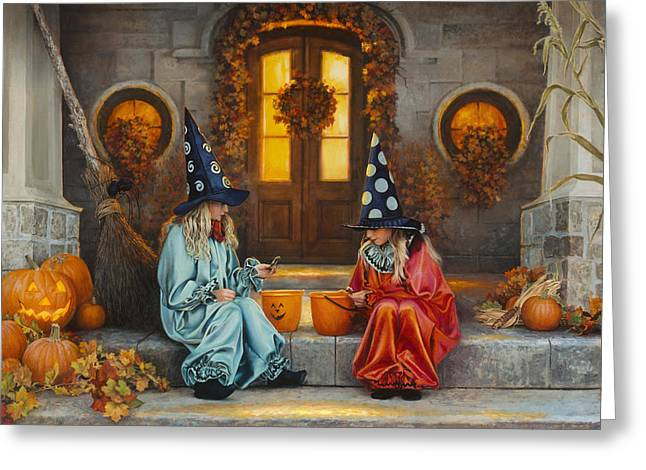 Broom Greeting Cards - Halloween Sweetness Greeting Card by Greg Olsen