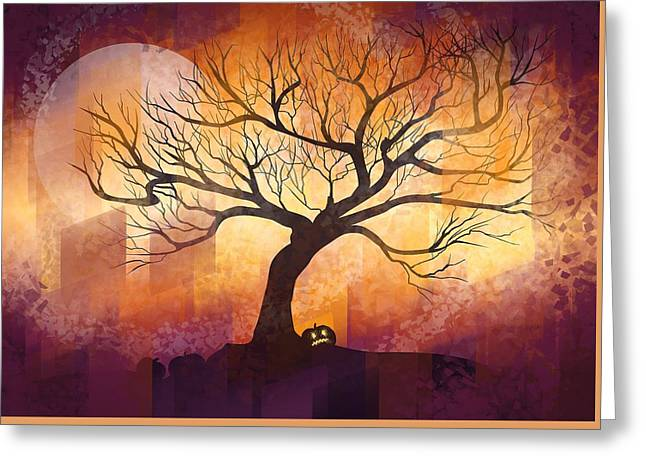 Abstract Shapes Greeting Cards - Halloween tree Greeting Card by Thubakabra