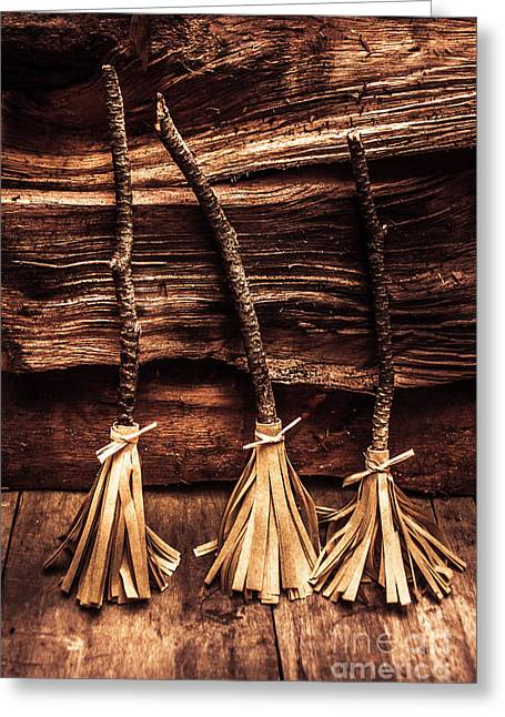Halloween Witch Brooms Greeting Card by Jorgo Photography - Wall Art Gallery