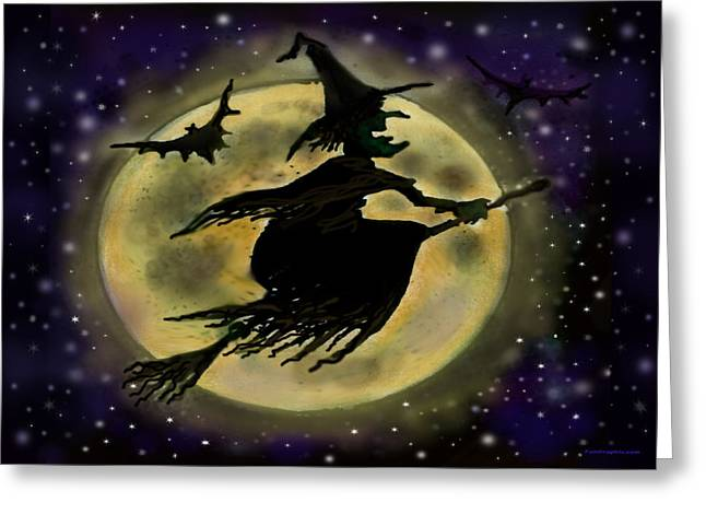 Moon Greeting Cards - Halloween Witch Greeting Card by Kevin Middleton