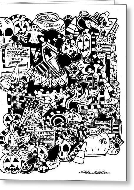 Tombstone Drawings Greeting Cards - Halloween World Greeting Card by Chelsea Geldean