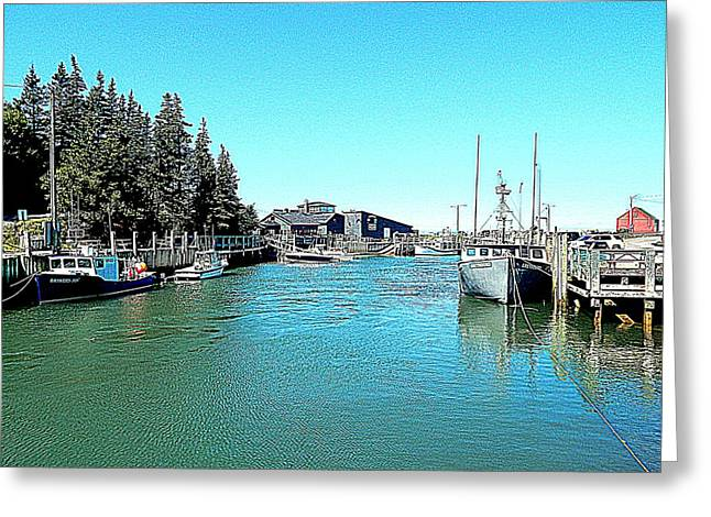 Fishing Boats Greeting Cards - Halls Harbour Greeting Card by Karen Cook