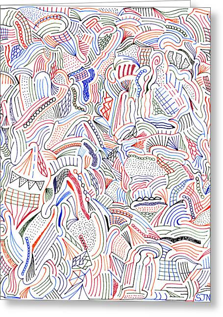 Hallucination Drawings Greeting Cards - Hallucination Greeting Card by Steven Natanson