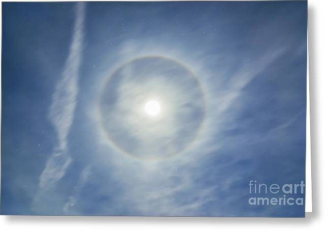 Constellations Greeting Cards - Halo Around Full Moon In A Sky Greeting Card by Alan Dyer