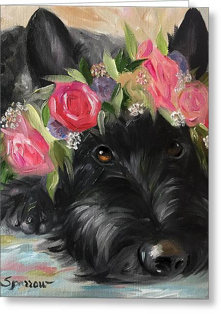 Scottish Terrier Puppy Greeting Cards - Halo Greeting Card by Mary Sparrow