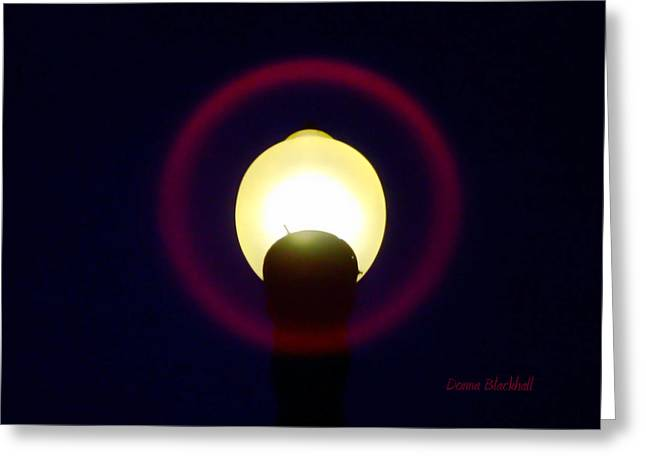 Night Lamp Greeting Cards - Halo of Light Greeting Card by Donna Blackhall
