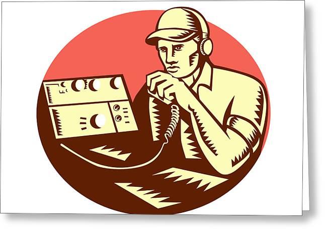 Linocut Greeting Cards - Ham Radio Operator Circle Woodcut Greeting Card by Aloysius Patrimonio