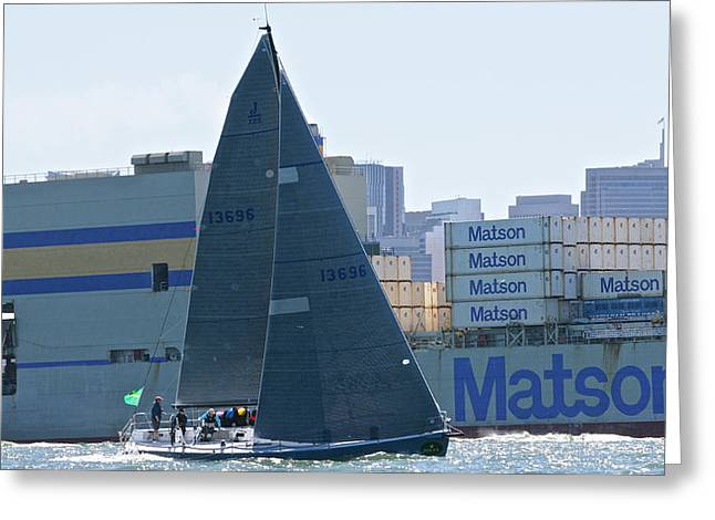 Sailboat Photos Greeting Cards - Hamachi Matson Greeting Card by Steven Lapkin
