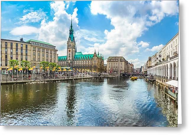 Historic Architecture Greeting Cards - Hamburg city center with town hall and Alster river, Germany Greeting Card by JR Photography