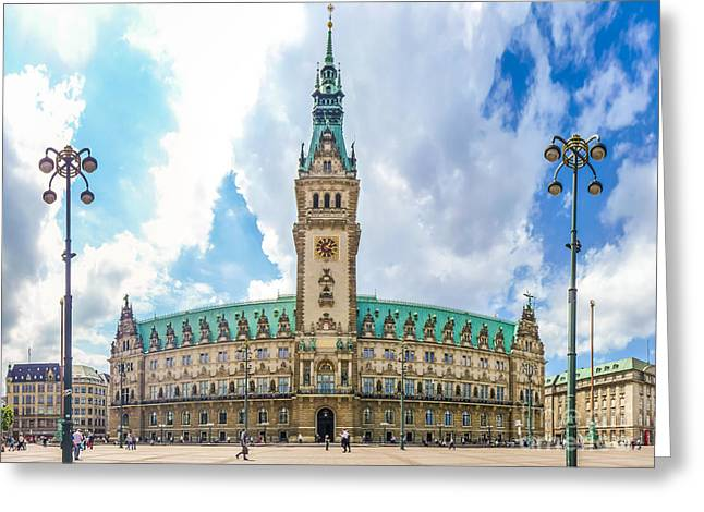Altstadt Greeting Cards - Hamburg town hall at market square in Altstadt quarter, Germany Greeting Card by JR Photography