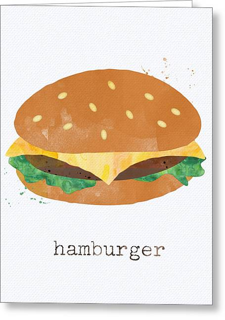 Diner Greeting Cards - Hamburger Greeting Card by Linda Woods