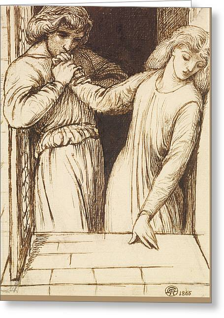 Hamlet And Ophelia - Compositional Study Greeting Card by Dante Gabriel Rossetti