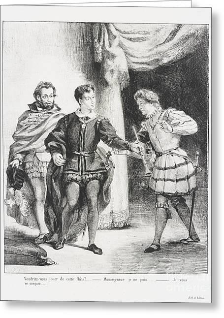 Hamlet Et Guildenstern Greeting Card by Eugene Delacroix