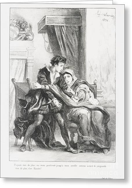Hamlet Et La Reine Greeting Card by Eugene Delacroix